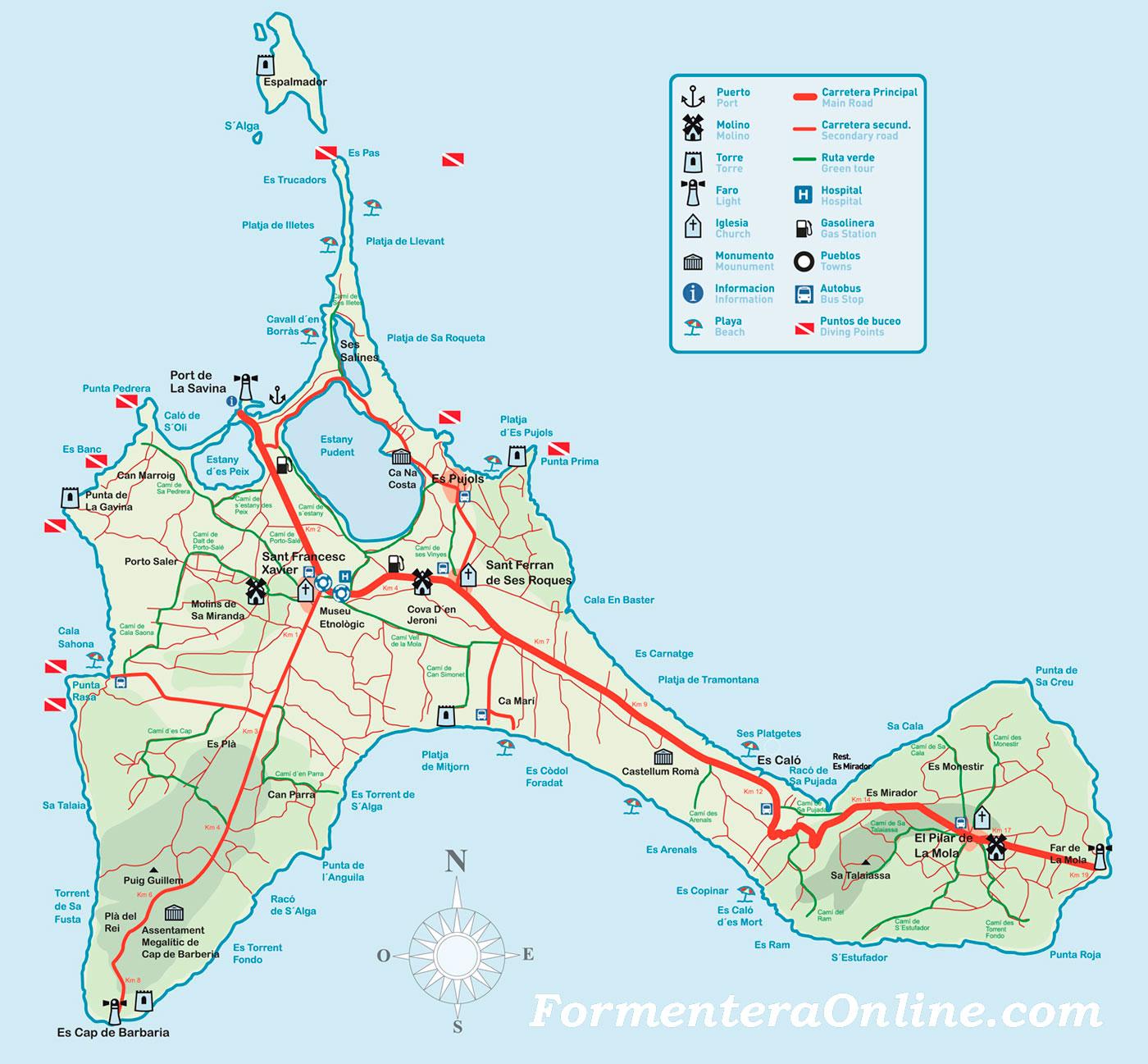 Mapa De Playas Y Caminos De Formentera Download Map Formentera